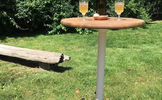 outdoor drink pedestal table, outdoor furniture, painted furniture, woodworking projects