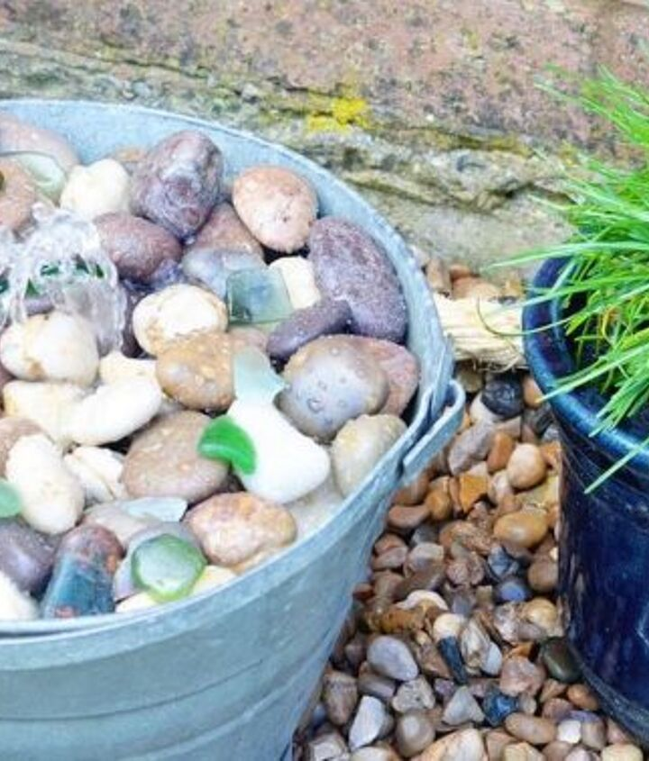 diy tub or bucket water feature, ponds water features