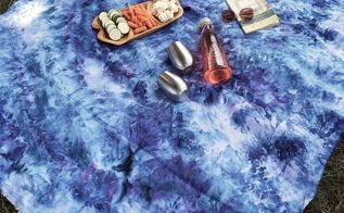 ice dyed linen beach picnic blanket, crafts, how to, outdoor living, reupholster