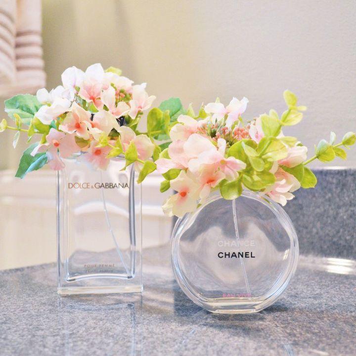diy perfume bottle flower arrangements, container gardening, crafts, gardening, repurpose household items