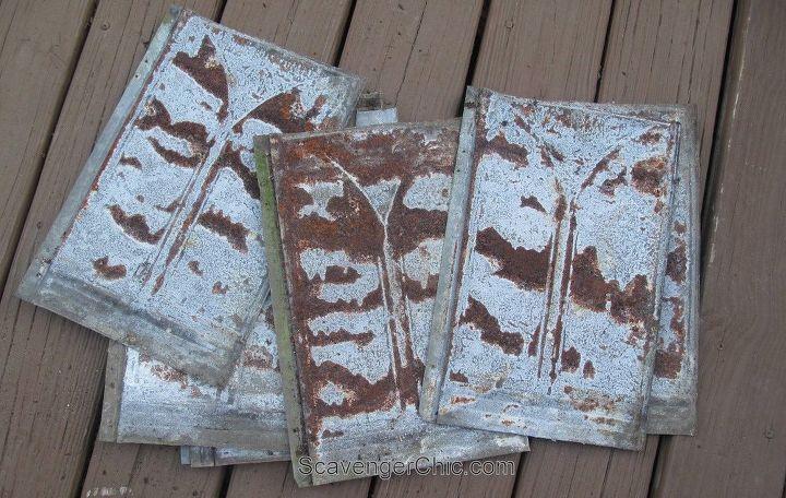 Upcycled Tin Roofing Shingles Headboard Diy Hometalk
