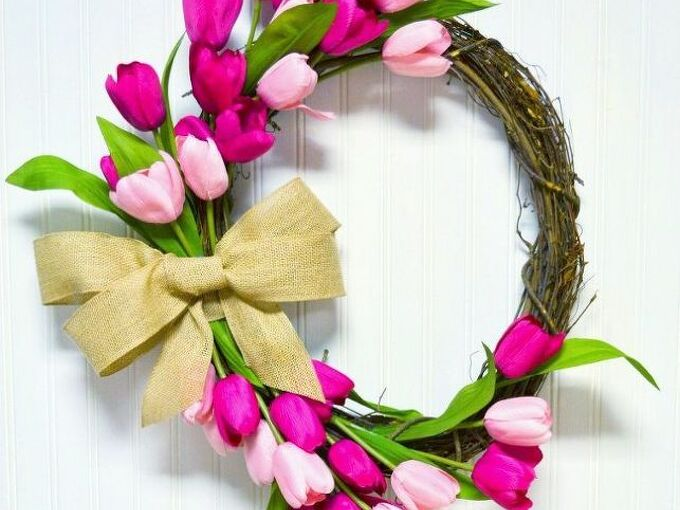 diy tulip wreath, crafts, flowers, how to, wreaths