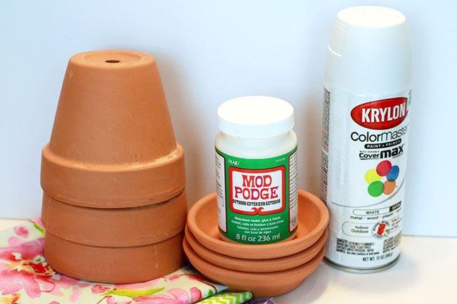monogrammed summer pots, crafts, decoupage, outdoor living