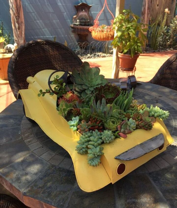 swap meet find becomes unique vintage succulent planter, container gardening, flowers, gardening, succulents