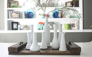 thrifted vases turn milk vase centerpiece, crafts, repurposing upcycling