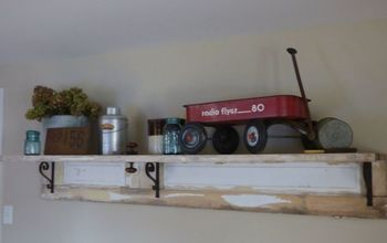 a shelf made from an old farmhouse door, doors, repurposing upcycling, shelving ideas, woodworking projects