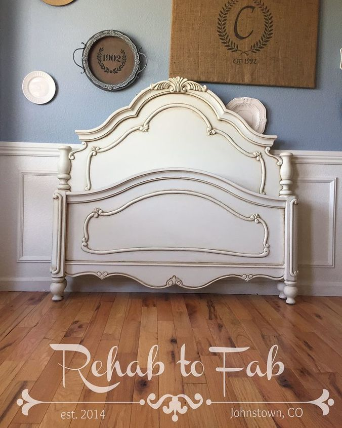 beautiful french style bed antiqued with general finishes glaze, painted furniture, rustic furniture
