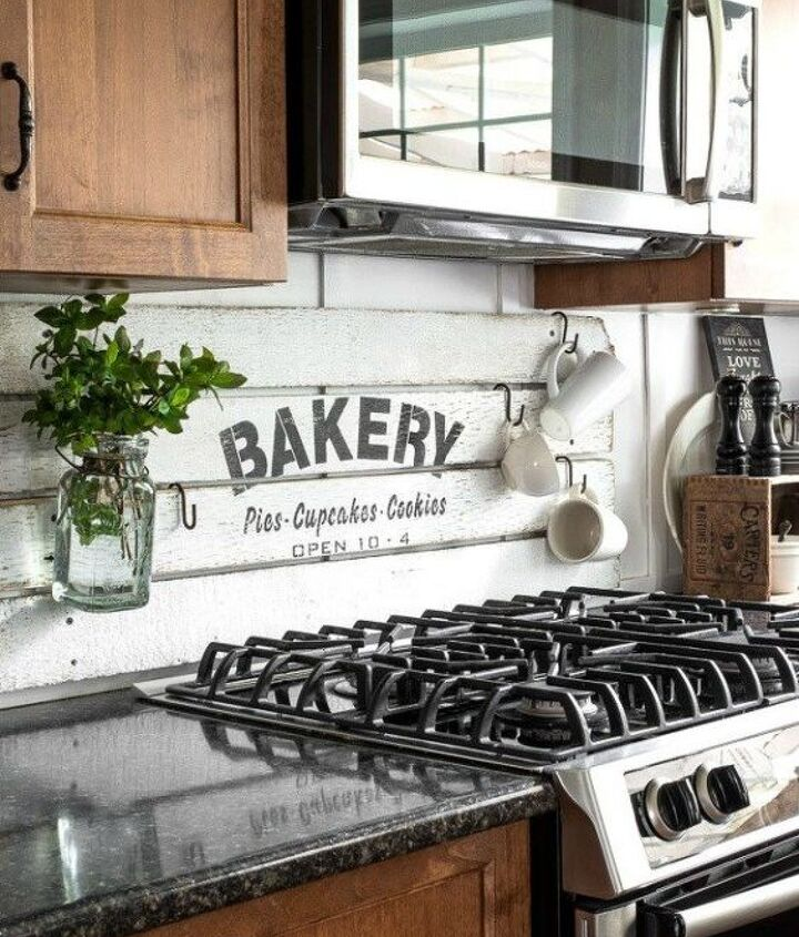 s 12 shiplap ideas that are hot right now, home decor, wall decor, Fake a shiplap backsplash with a sign