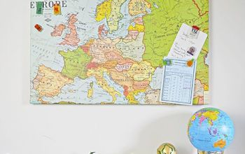 upcycled map magnetic board and travel themed pins, crafts, repurposing upcycling