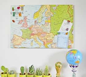 upcycled map magnetic board and travel themed pins crafts repurposing upcycling