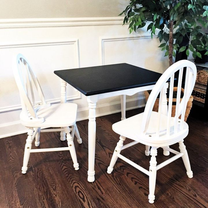 kid s table makeover with chalkboard paint , chalkboard paint, painted furniture