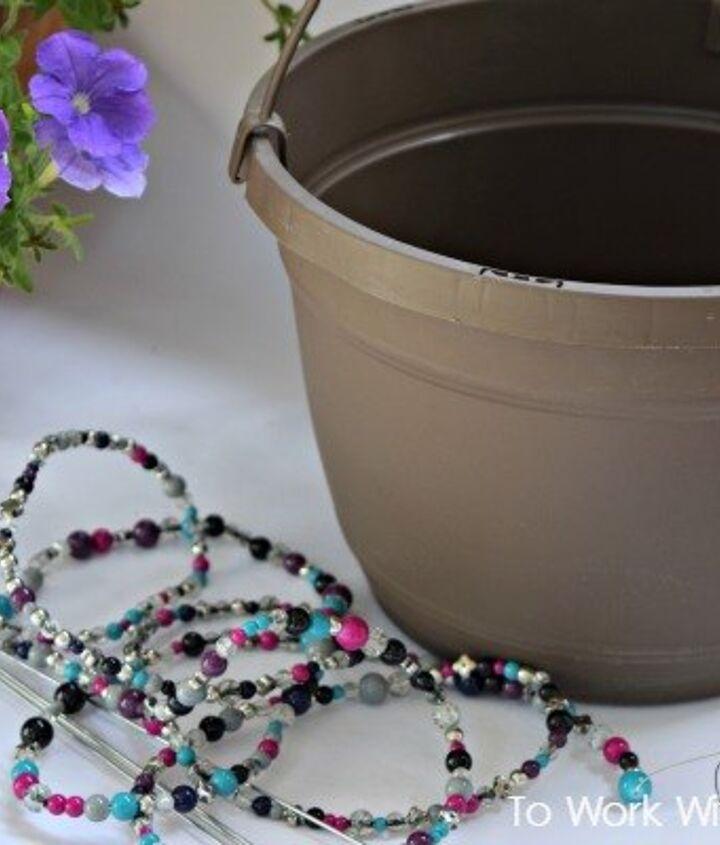 diy beaded hanging basket, container gardening, crafts