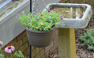 diy beaded hanging basket, container gardening, crafts