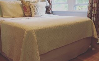 no sew drop cloth bedskirt, bedroom ideas, reupholster
