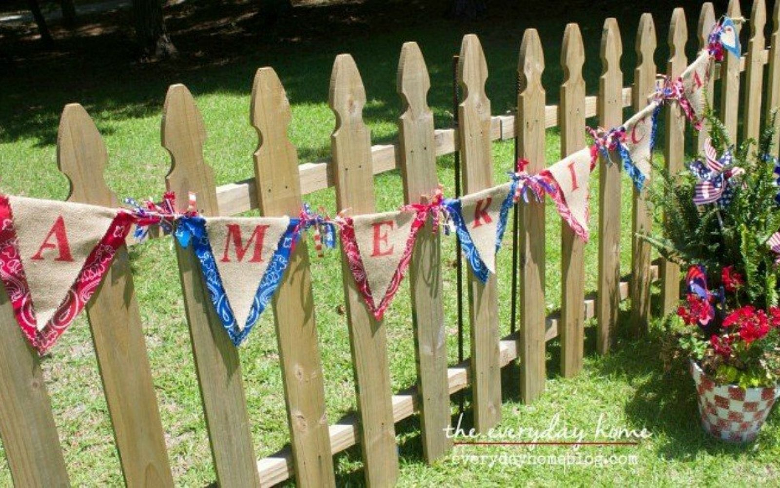 s 13 july 4th decorations that will blow your bbq guests away, crafts, outdoor living, seasonal holiday decor, String bandanas into a patriotic banner
