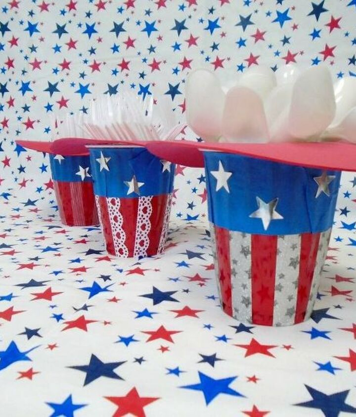 s 13 july 4th decorations that will blow your bbq guests away, crafts, outdoor living, seasonal holiday decor, Craft these festive plasticware holders