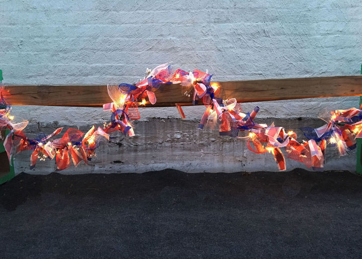 s 13 july 4th decorations that will blow your bbq guests away, crafts, outdoor living, seasonal holiday decor, Tie red white blue mesh on string lights