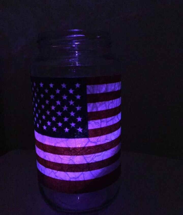 easy 4th of july patriotic glass jar craft with so many uses , crafts, home decor, patriotic decor ideas, repurposing upcycling, seasonal holiday decor