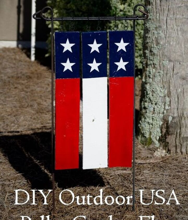 diy outdoor usa pallet garden flag, crafts, pallet, patriotic decor ideas, seasonal holiday decor