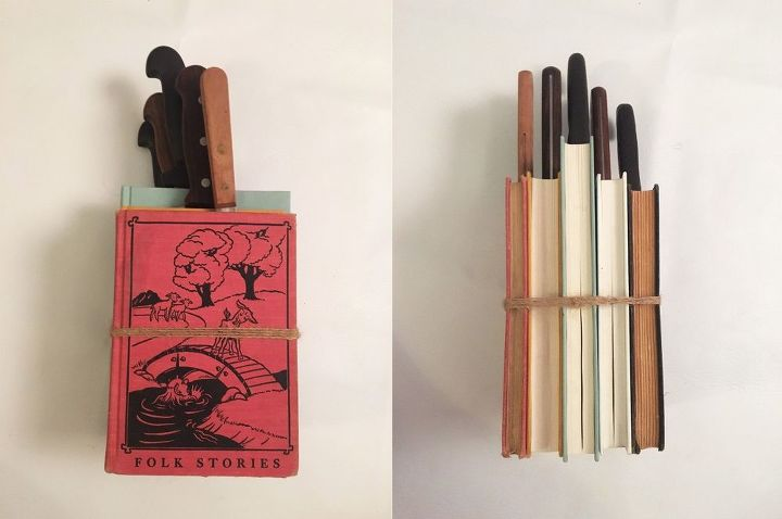 repurposed book knife block, crafts, kitchen design, repurposing upcycling
