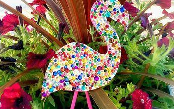 Sparkly Flamingo Plant Pokes