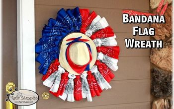 make a bandana flag wreath, crafts, patriotic decor ideas, repurposing upcycling, wreaths