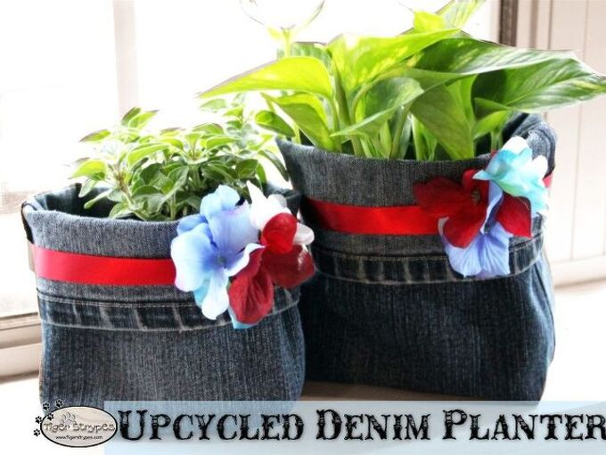 make some upcycled denim planters, container gardening, crafts, gardening, repurposing upcycling