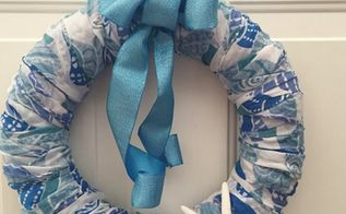 coastal scarf wreath, crafts, how to, wreaths