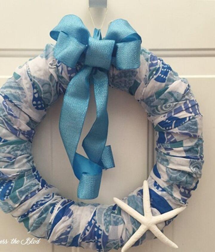 coastal scarf wreath, crafts, how to, wreaths
