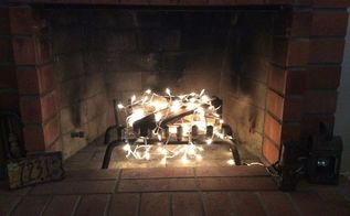 your fireplace sans fire , christmas decorations, fireplace makeovers, fireplaces mantels, lighting, seasonal holiday decor