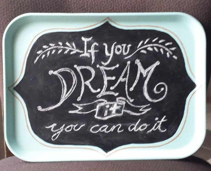 upcycled food tray chalkboard, chalkboard paint, crafts, repurposing upcycling
