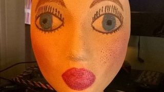 , I spray painted this head but held the can of paint about 3 feet from the head and it didn t bump up Then I put foundation makeup on her then eye makeup and lipstick