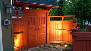 , Front home Japanese style entrance gate Built by hand from cedar and stained with a redwood tinted stain