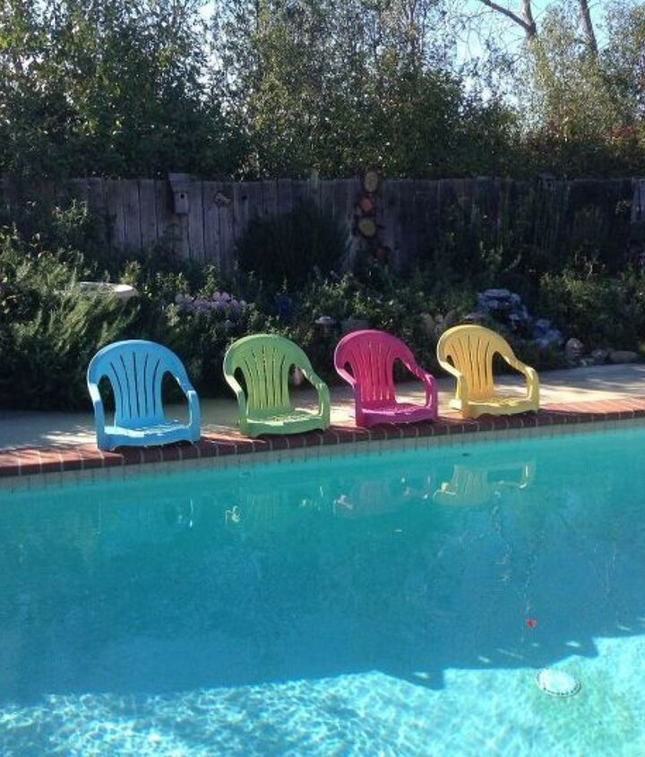 s 12 pool chair ideas we never would have thought of, painted furniture, pool designs, Cut off the legs
