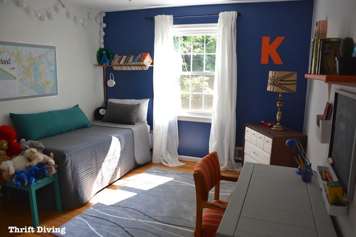 7 Inspiring Kid Room Color Options For Your Little Ones: BEFORE & AFTER: Boy's Blue Accent Wall Bedroom Makeover