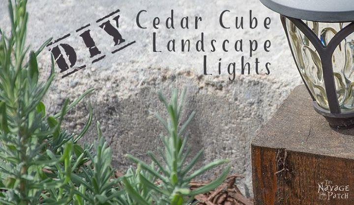 diy cedar cube landscape lights, landscape, lighting, outdoor living, woodworking projects