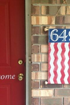 patriotic street number banner tutorial, crafts, curb appeal, how to, patriotic decor ideas