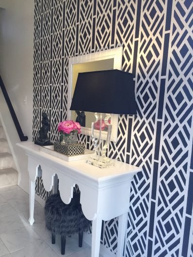 a stenciled entryway using the lattice allover wall pattern, diy, home decor, how to, painting, wall decor
