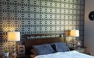 master bedroom stencil accent wall, bedroom ideas, painting, wall decor
