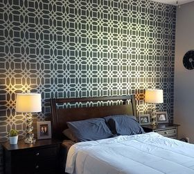 Captivating Master Bedroom Stencil Accent Wall, Bedroom Ideas, Painting, Wall Decor