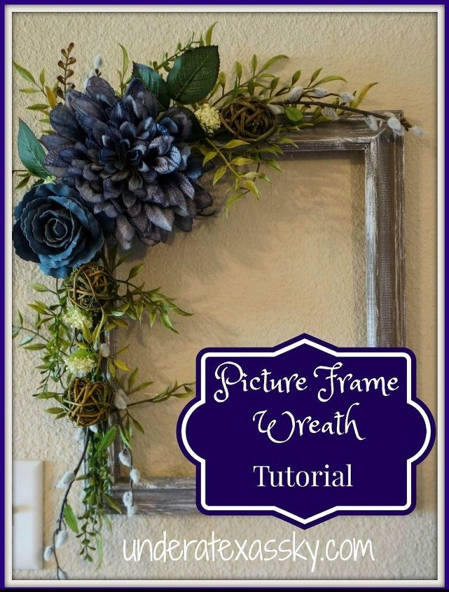 picture frame wreath using dry brushed painted frame, crafts, repurposing upcycling, wreaths