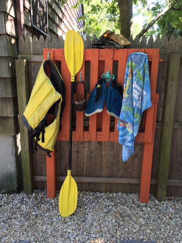 poolside gardening grill station organization rack, organizing, outdoor living, pallet, storage ideas, woodworking projects
