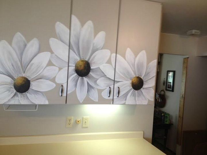 s 13 ways to instantly brighten up a boring kitchen, kitchen cabinets, kitchen design, painting cabinets, Add a bright mural on boring cabinet doors