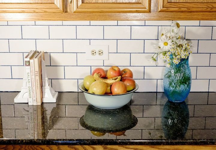 s 13 ways to instantly brighten up a boring kitchen, kitchen cabinets, kitchen design, painting cabinets, Put tiles up with a glamorous glitter grout