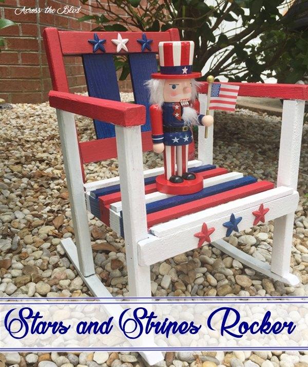 stars and stripes rocker, crafts, painted furniture, patriotic decor ideas, seasonal holiday decor