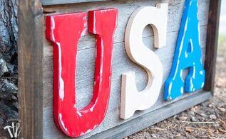 easy rustic wood usa sign, crafts, patriotic decor ideas, seasonal holiday decor