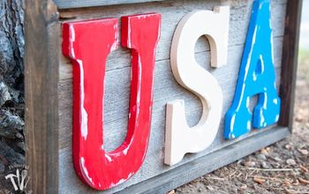 Easy Rustic Wood USA Sign