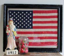 patriotic wall art framing vintage flags, crafts, patriotic decor ideas, seasonal holiday decor, wall decor