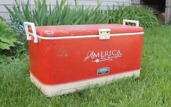 little red cooler patriotic makeover, crafts, outdoor furniture, patriotic decor ideas, seasonal holiday decor
