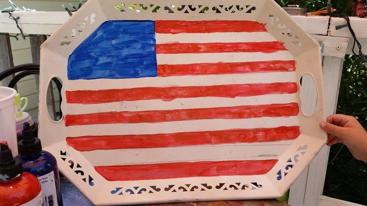 july 4th serving tray, crafts, patriotic decor ideas, seasonal holiday decor